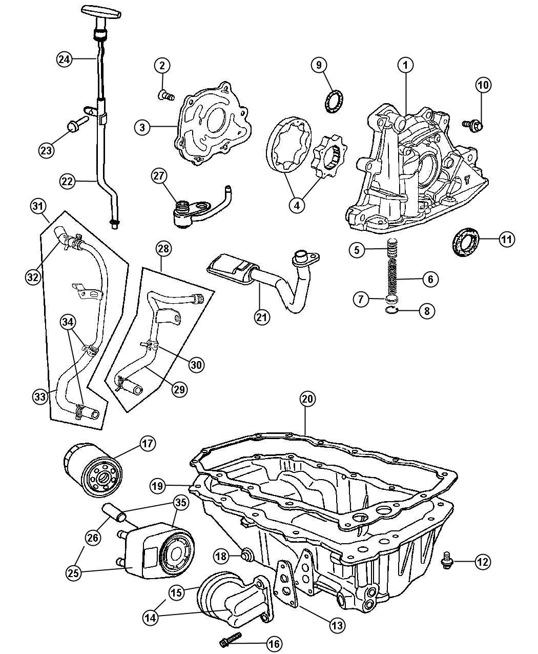 Chrysler PT Cruiser Tube. Oil cooler. Supply. Includes