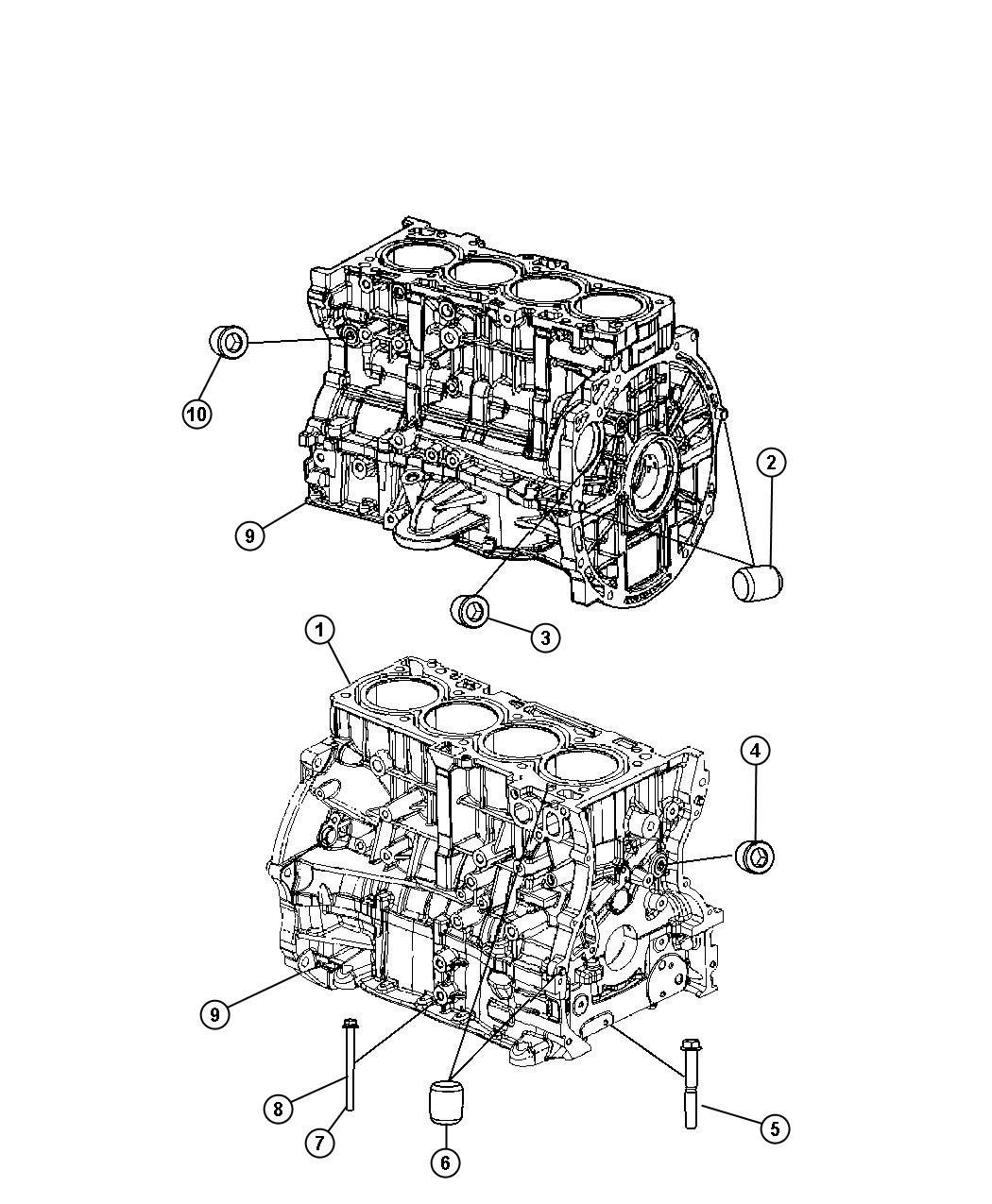 Jeep Compass Engine Short Block Oil Cooler Power