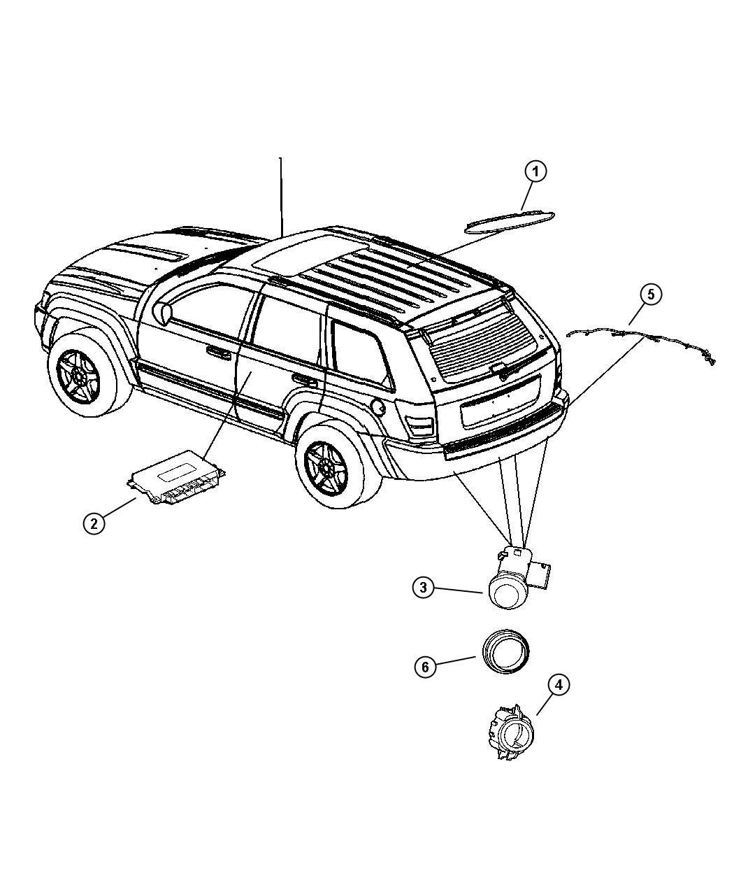 2013 Dodge Challenger Harness, wiring. Rear fascia, sensor