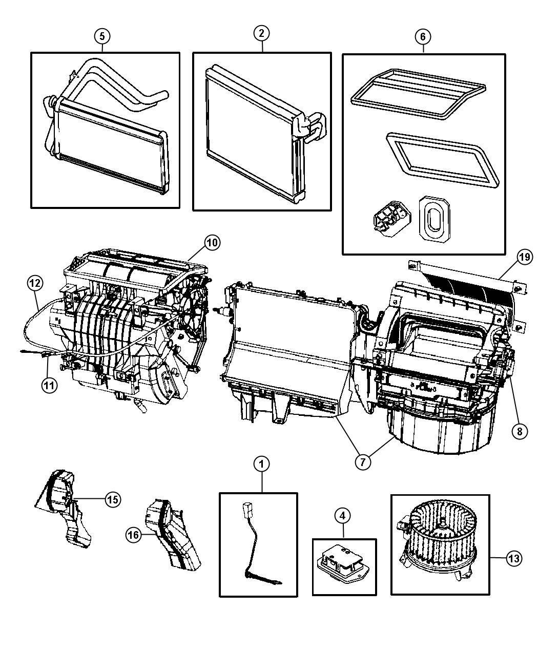 Dodge Caliber Cable. Mode, temperature control. Unit
