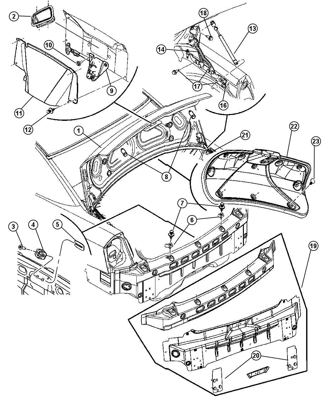 Dodge Magnum Weatherstrip Decklid Body Related Panel
