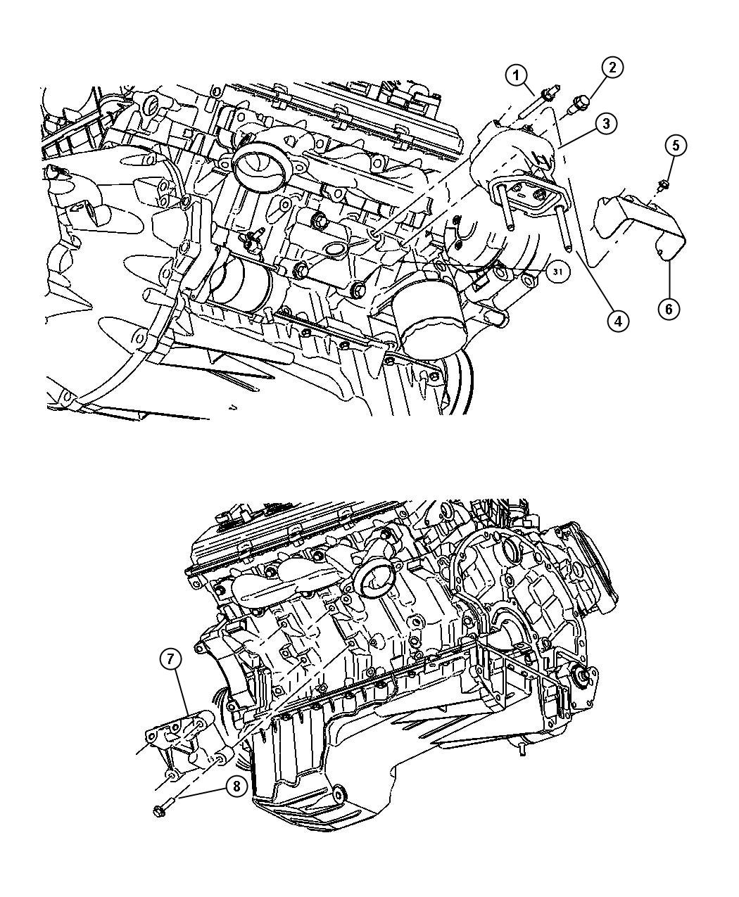 Dodge Charger Cushion. Engine support. Left, right