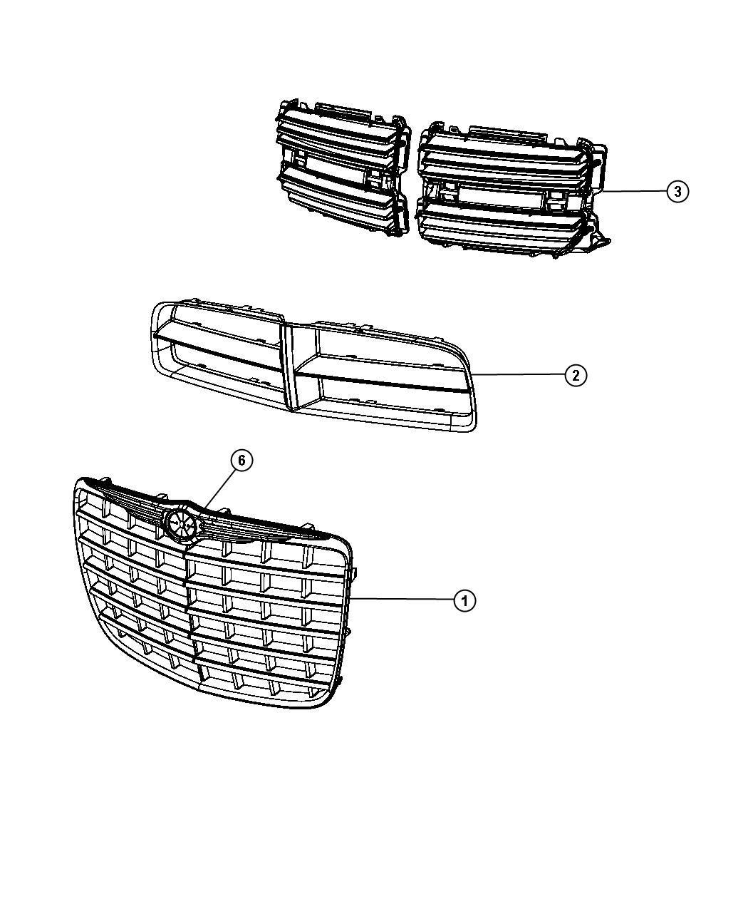 2008 Dodge Magnum Grille. Radiator. Group, lamps, fog
