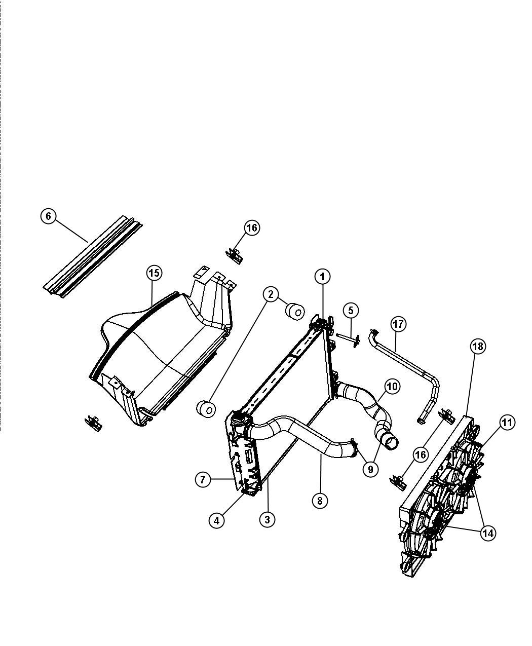2012 Dodge Durango Seal. Radiator upper. Related