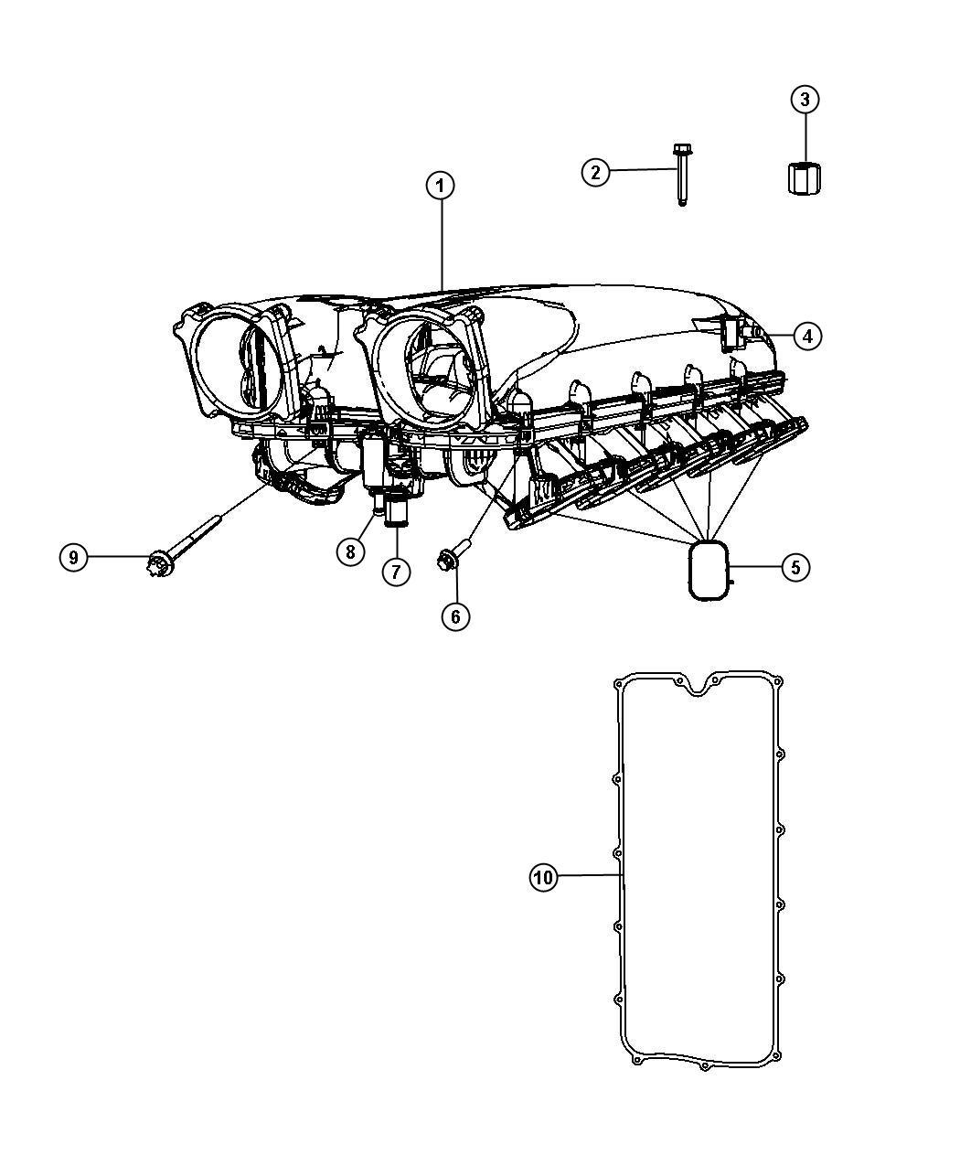 Dodge Viper Gasket. Intake plenum. Ewe, engine
