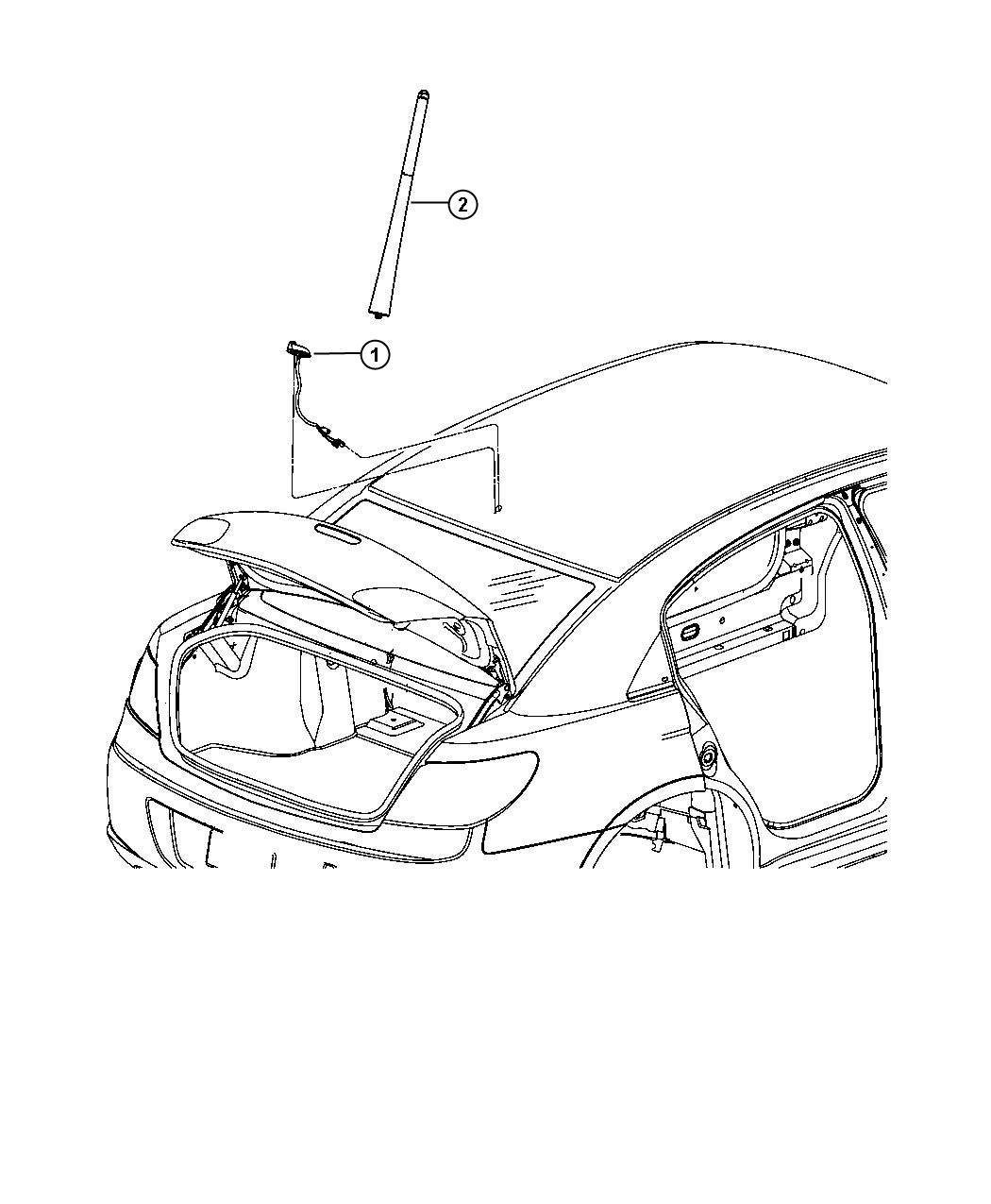 2008 Dodge Avenger Mast. Antenna. [removable short mast