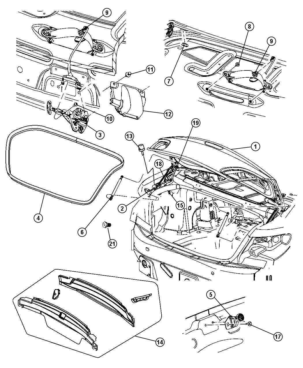 2008 Chrysler Sebring Latch. Decklid. Related, release