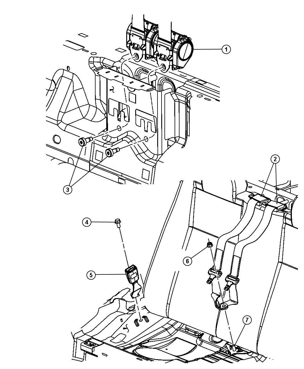 2008 Chrysler Sebring Seat belt. Rear inner. [db]. Trim