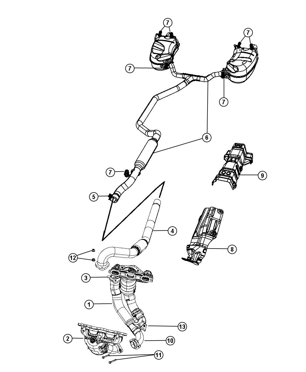 Dodge Journey Used for: MUFFLER AND RESONATOR. Exhaust