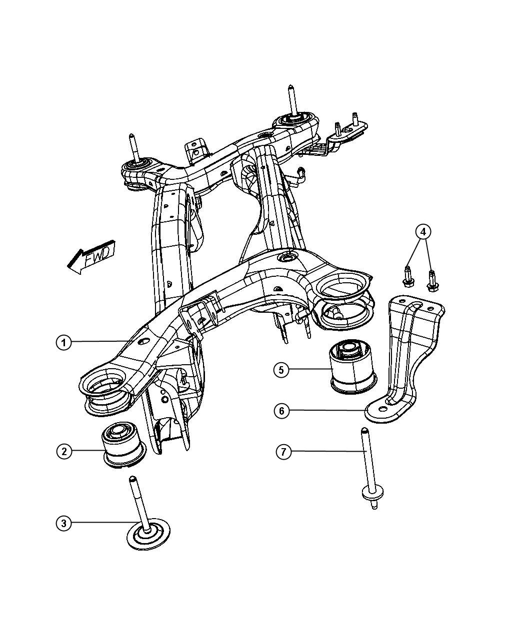Dodge Journey Isolator Crossmember Suspension Rear