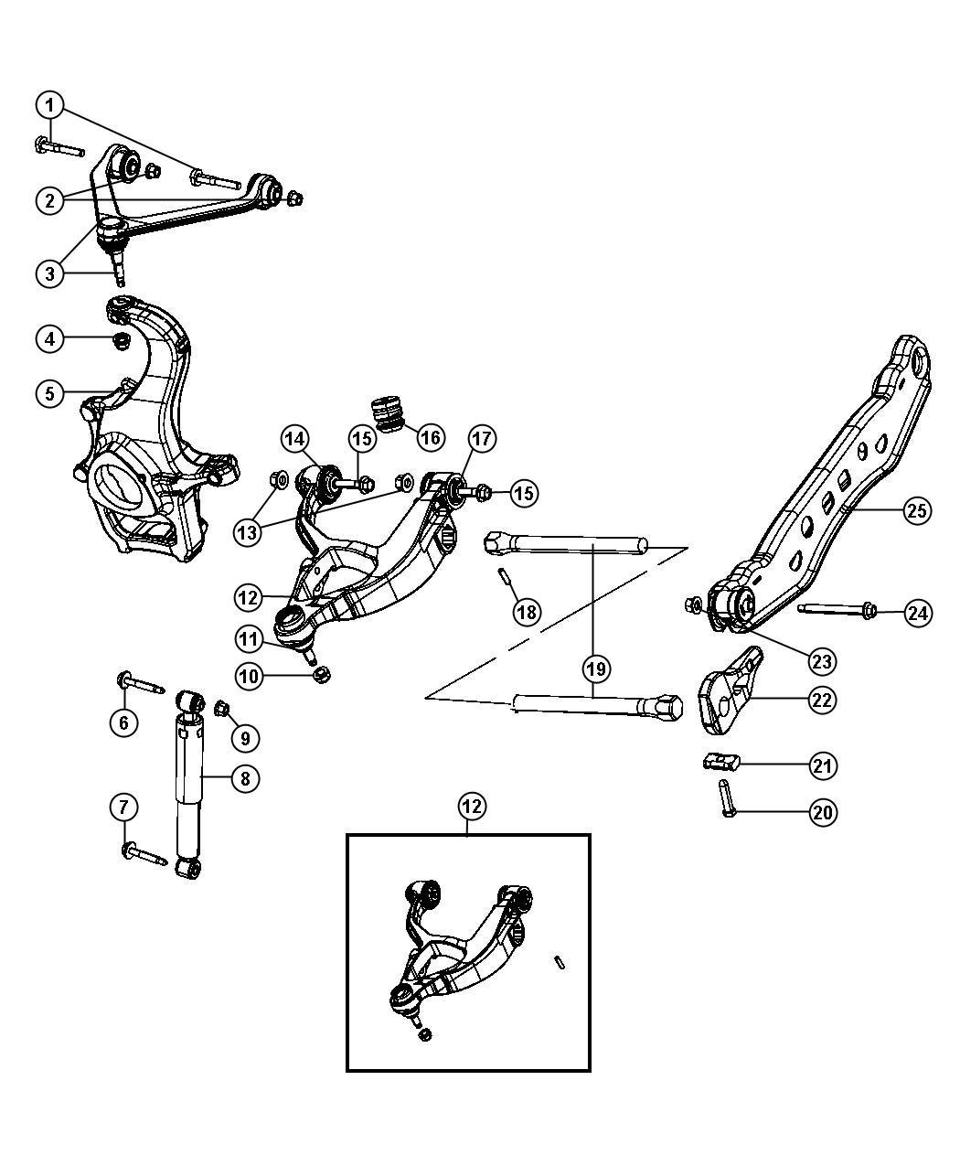 2009 Dodge Durango Shock absorber. Suspension. Front
