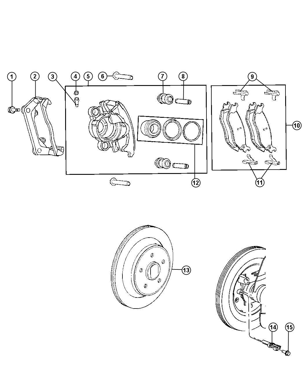 Chrysler Aspen Adapter Disc Brake Caliper Rear