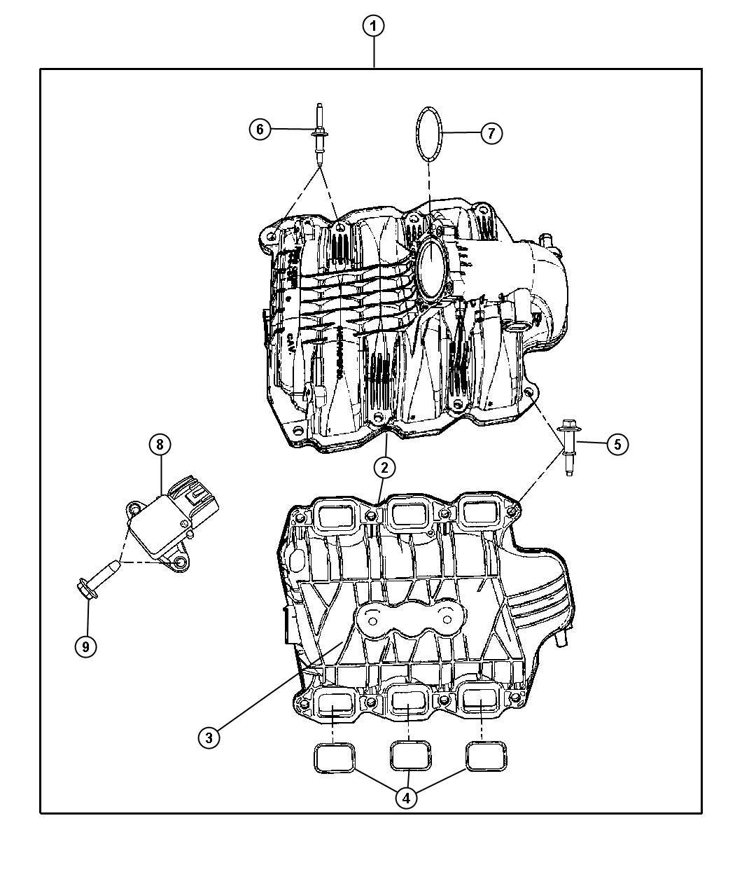 Dodge Durango Pad. Engine. Ekg, intake, manifolds