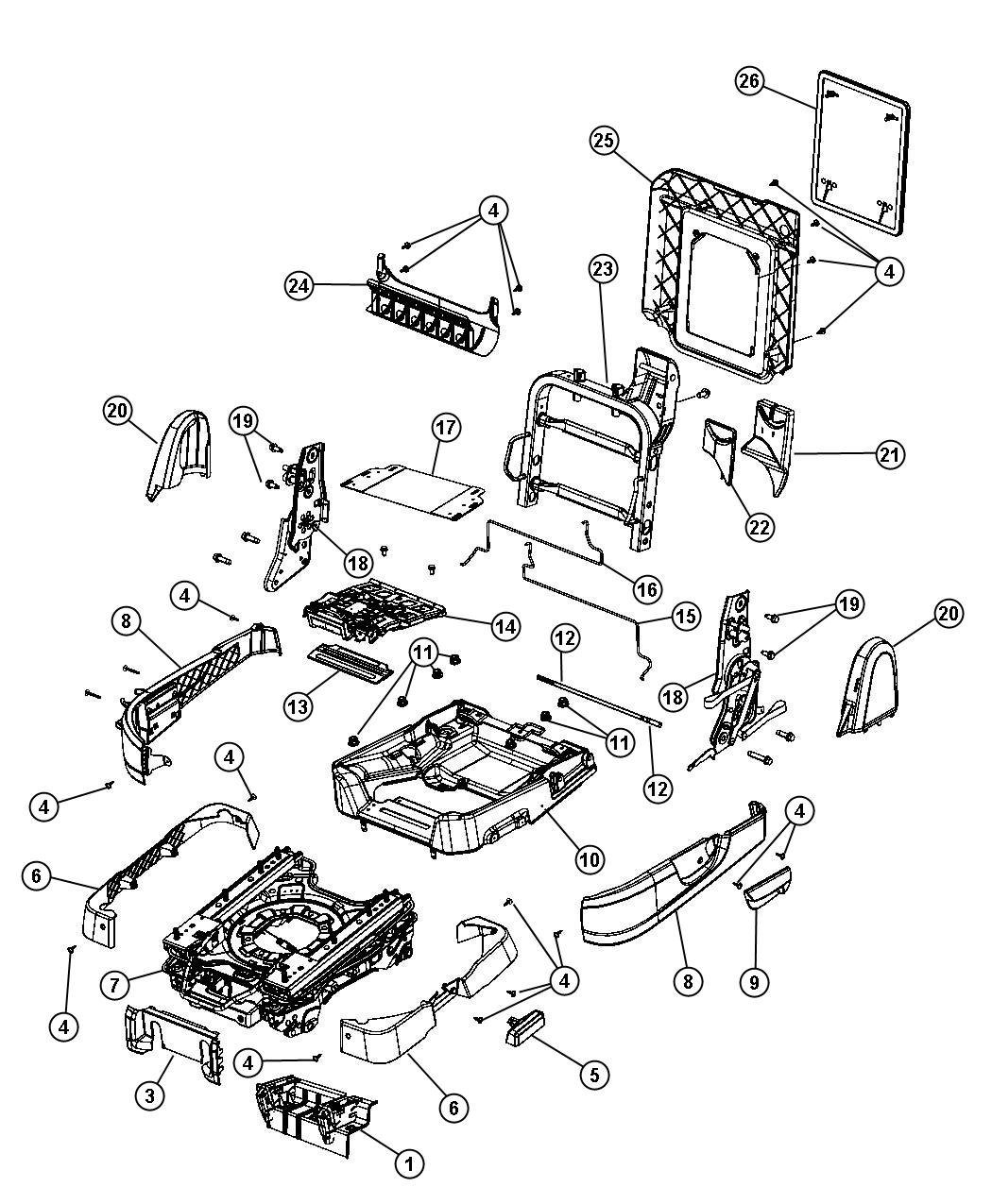 2008 Dodge Grand Caravan Swivel mechanism. Right. Second