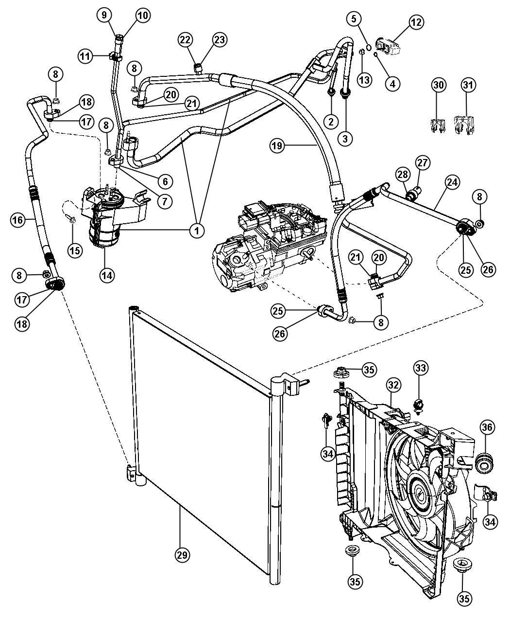 Dodge Durango Fan module, shroud. Condenser, condenser