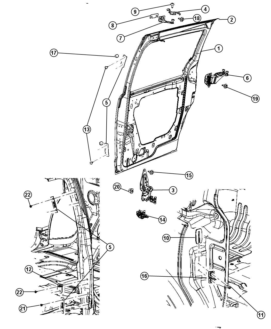 Chrysler Town & Country Door. Sliding. Right. Assembly