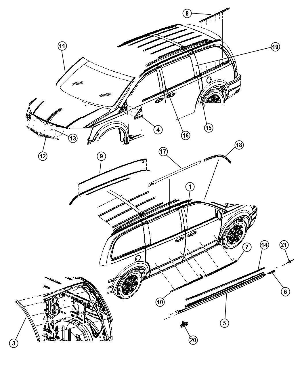 Dodge Grand Caravan Weatherstrip. Sliding door secondary