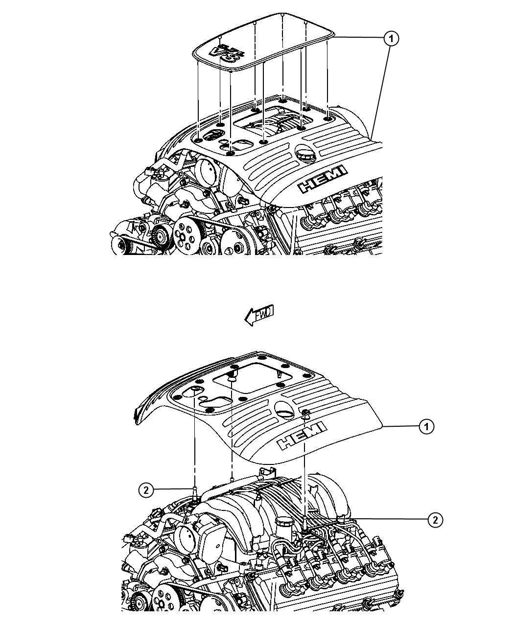 2013 Dodge Charger Cover. Engine. Upper. Markings, logo