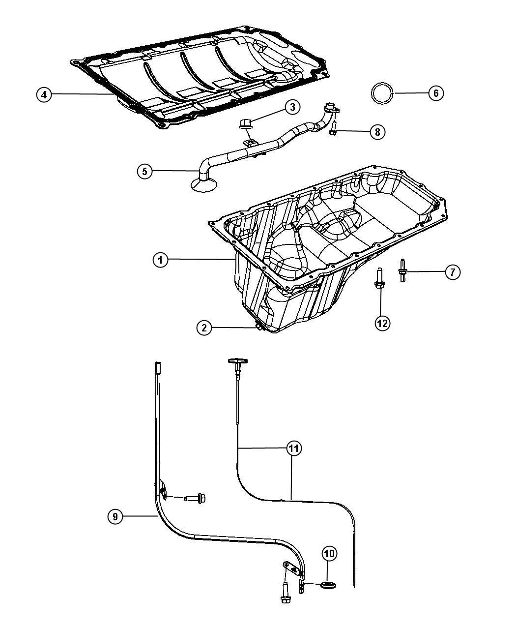 Dodge Durango Pan. Engine oil. Hemi, indicator, mds