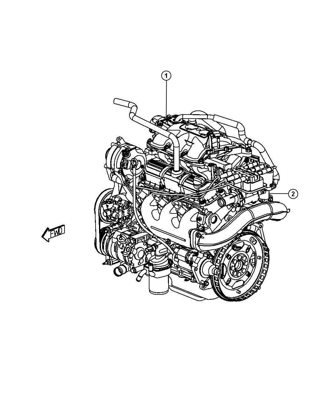 Chrysler Town & Country Engine. Long block. Remanufactured