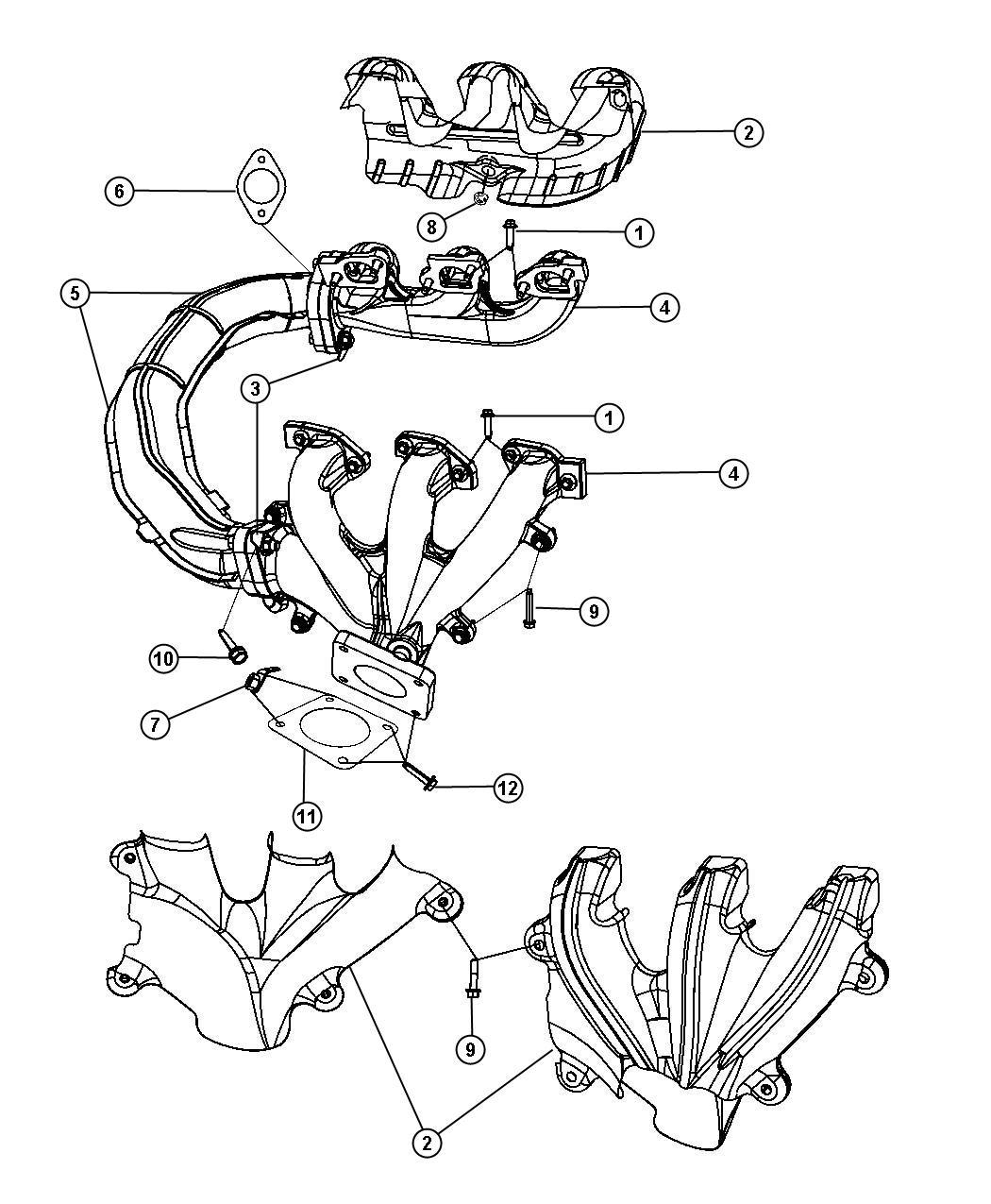 Dodge Dakota Gasket. Exhaust manifold to front converter