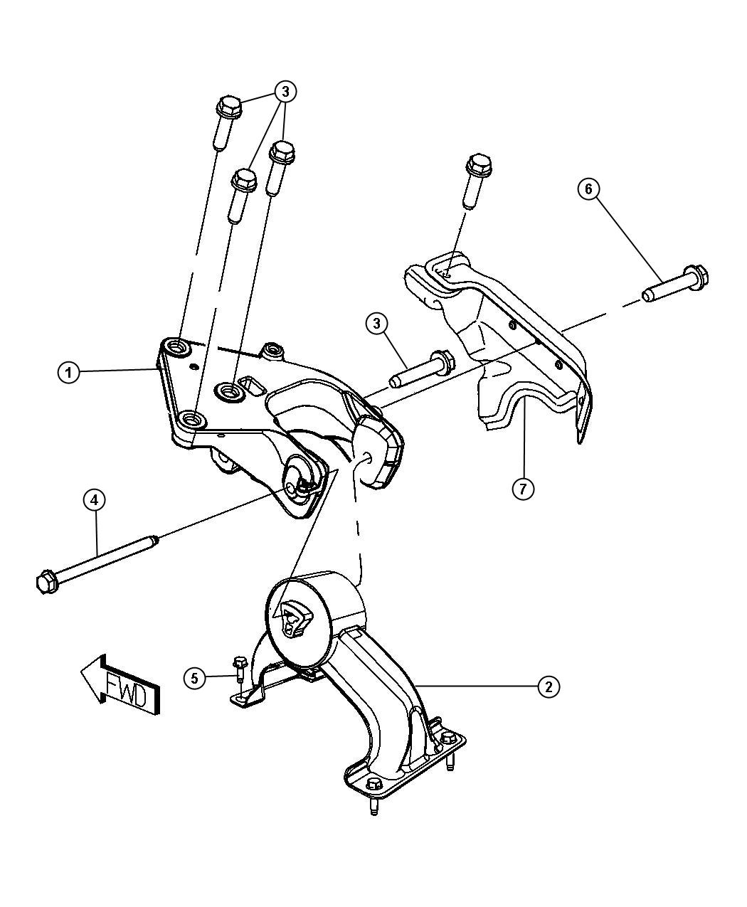 2009 Chrysler Town & Country Engine mount, support