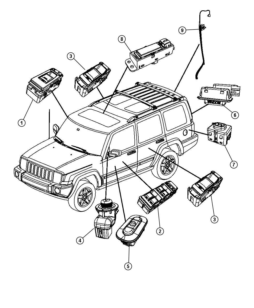 Jeep Commander Switch. Memory selector. [dv], [dv][radio