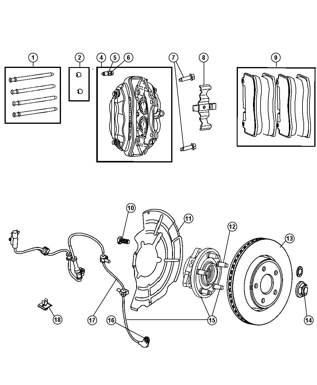 2009 Jeep Grand Cherokee Pad kit. Front disc brake. Brakes
