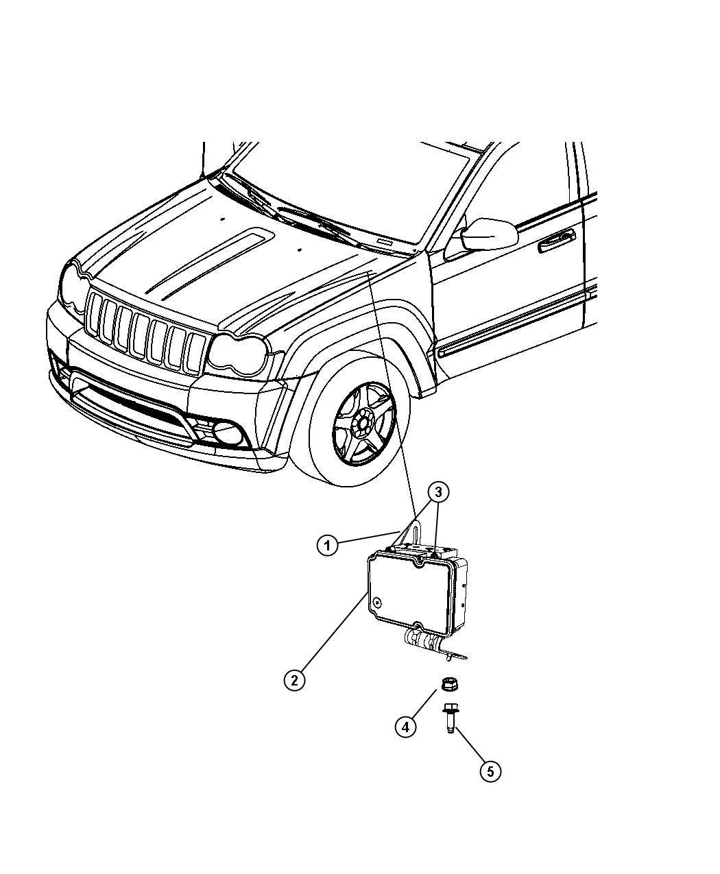 2008 Jeep Commander Control unit. Anti-lock brake. Modules
