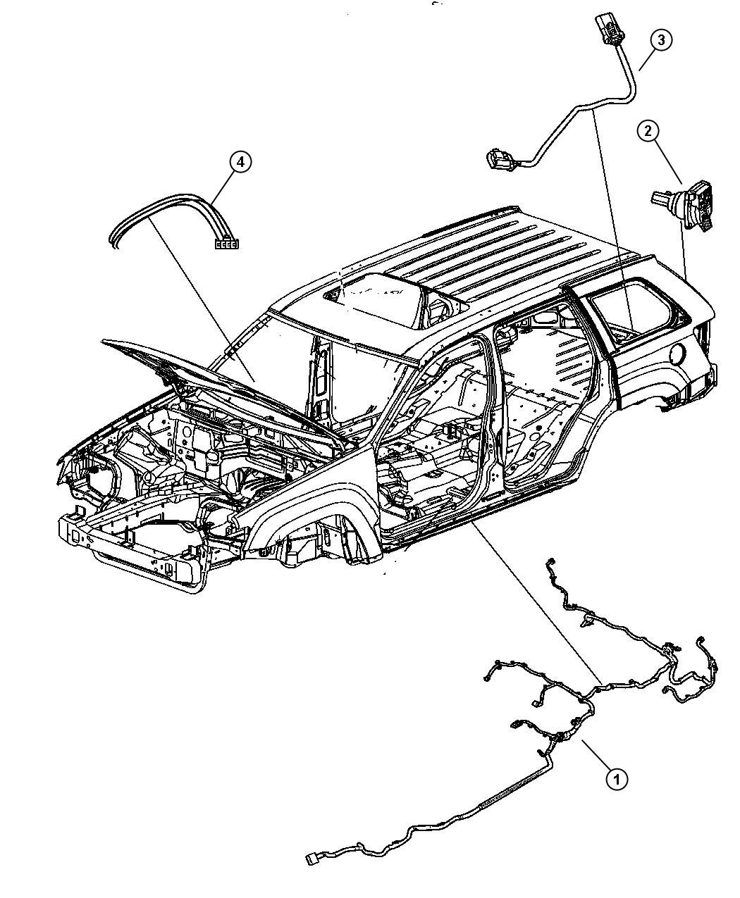 Jeep Grand Cherokee Wiring. Underbody. [[parksense rear