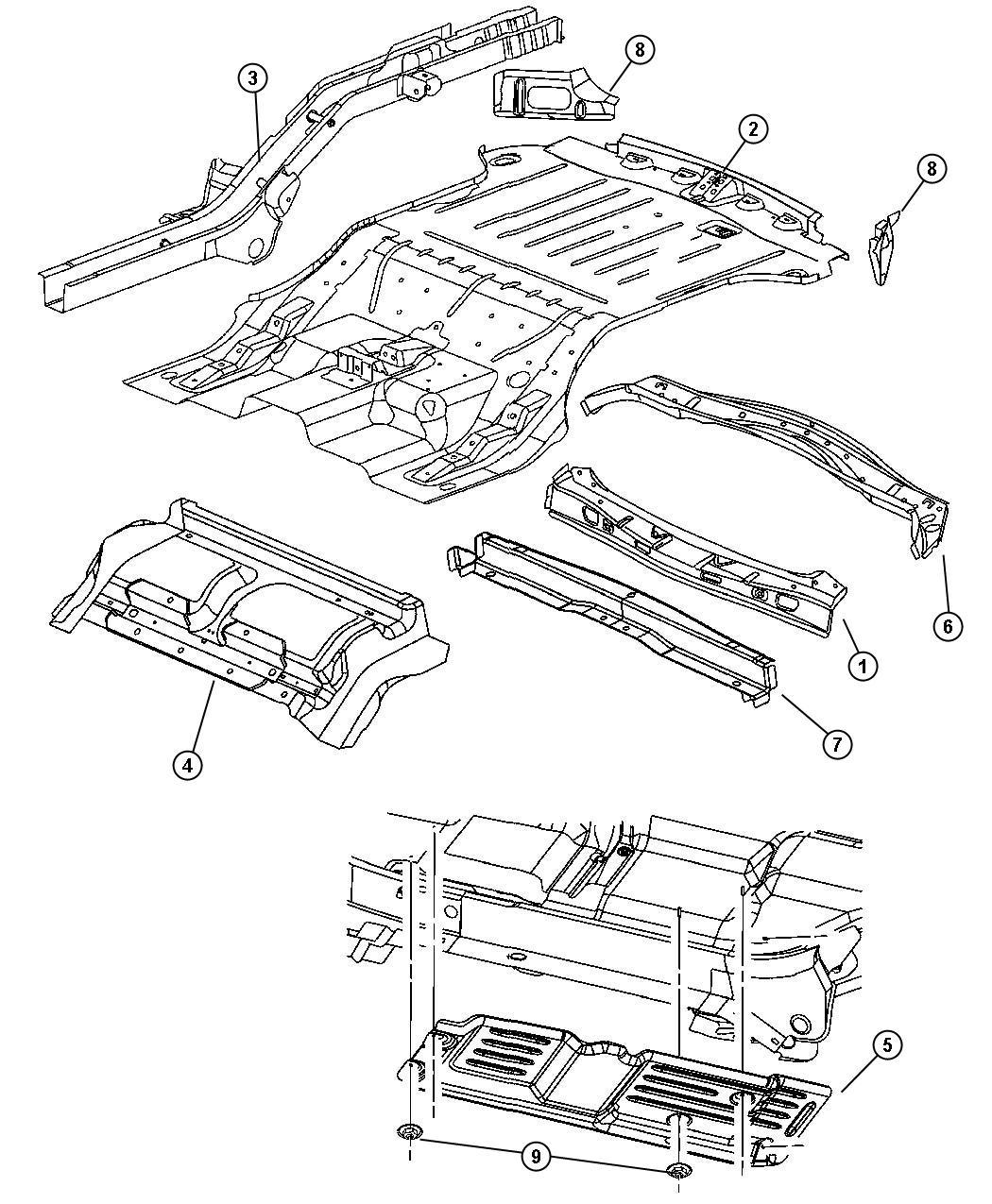 Jeep Grand Cherokee Rail Rear Floor Pan Side Right