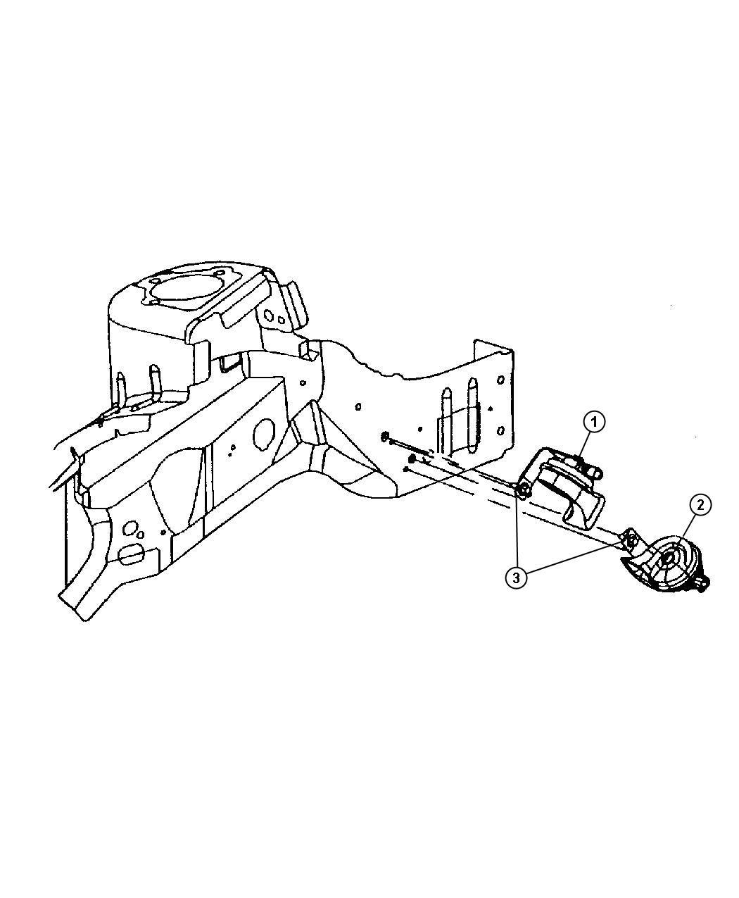 Chrysler PT Cruiser Used for: HORN AND BRACKET. High Note