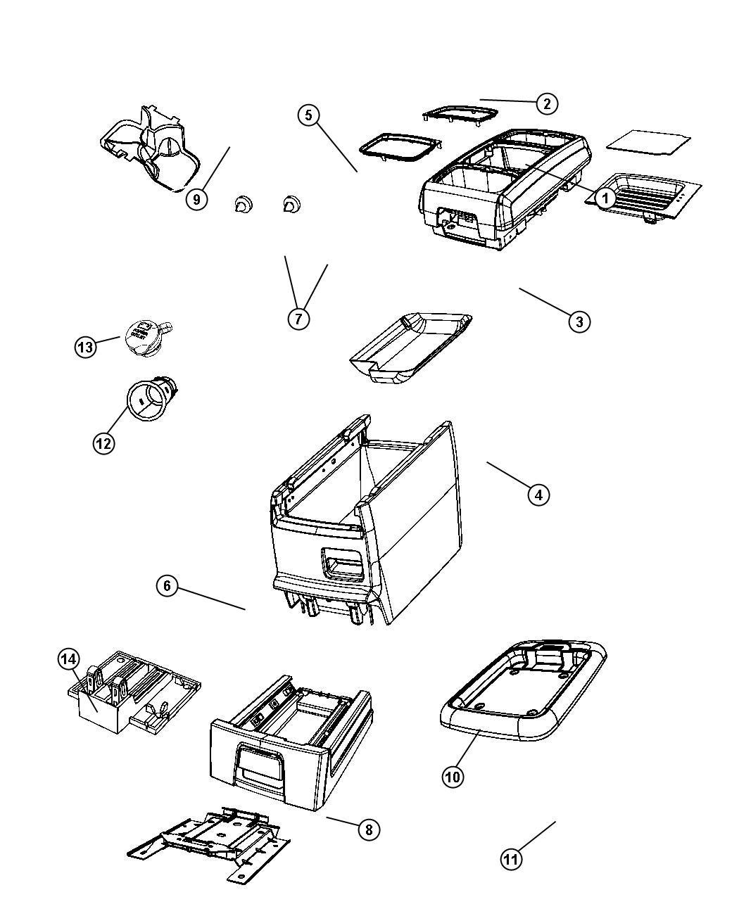 Dodge Grand Caravan Bin. Floor console. [vs]. Trim: [all