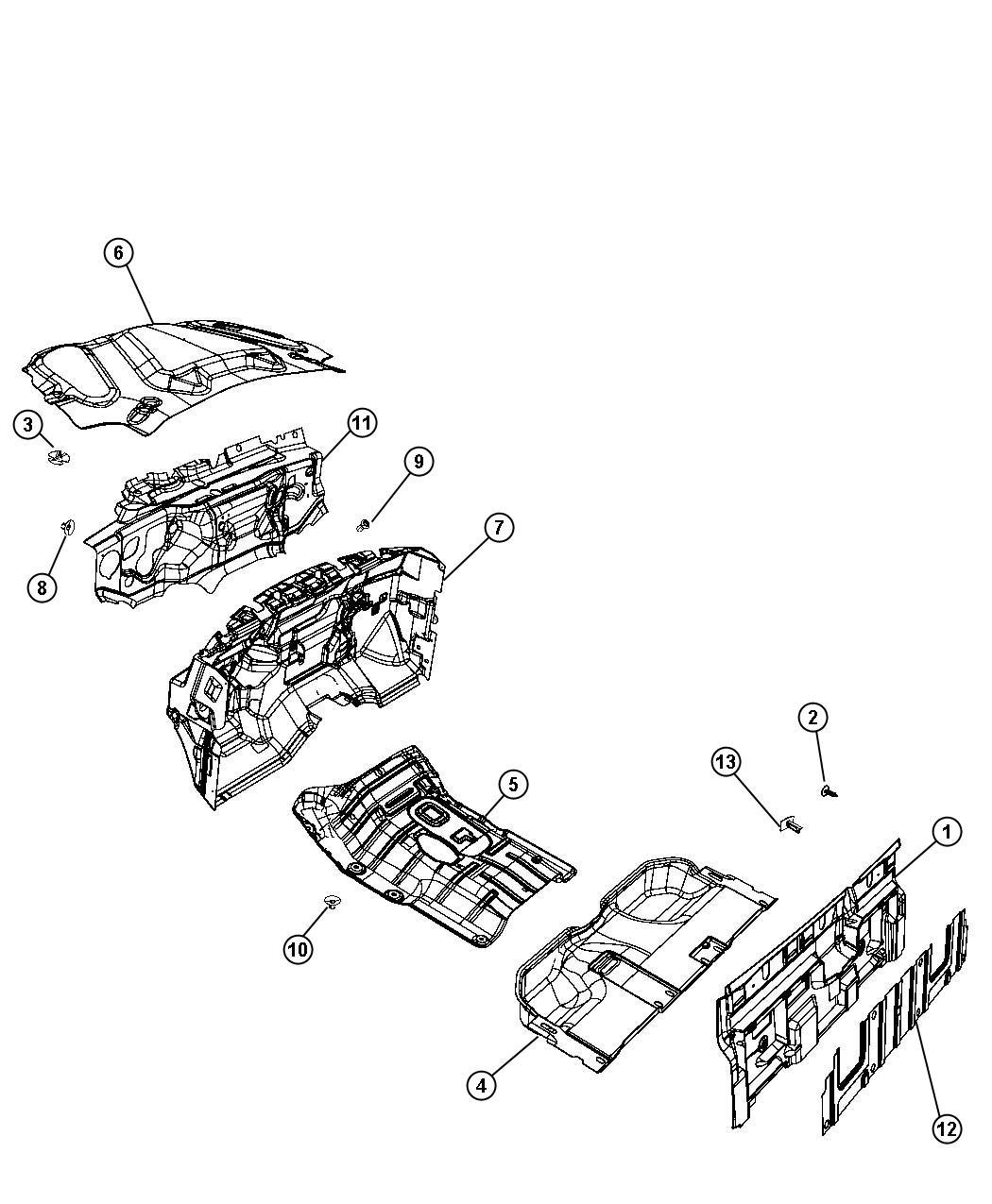 Dodge Ram 1500 Insulation. Dash panel. Engine compartment