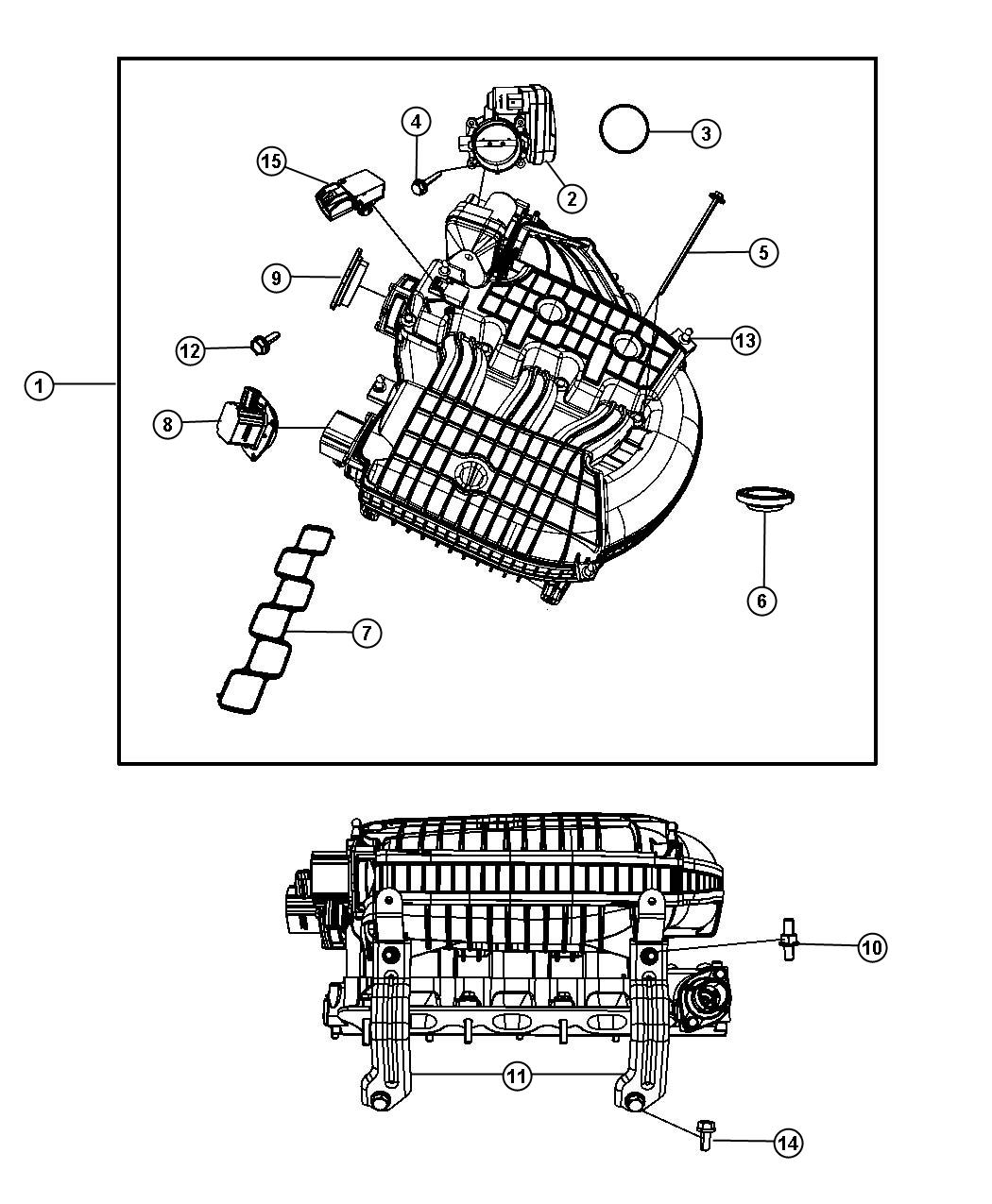 2010 Dodge Grand Caravan Actuator. Intake short running