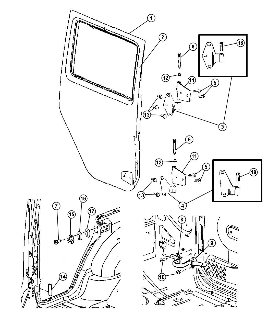 2013 Jeep Wrangler Molding. Check strap. Door, rear, full
