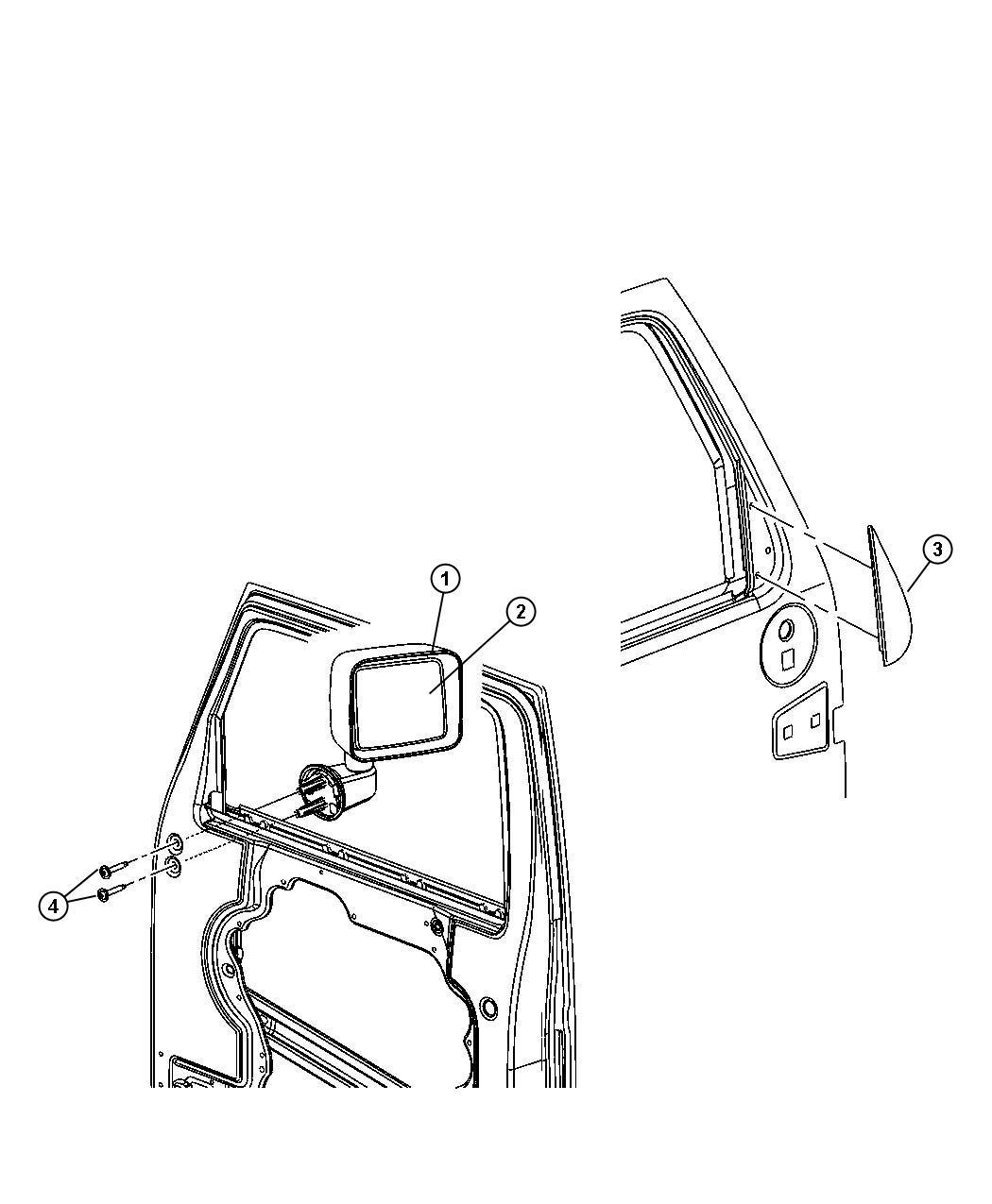 Jeep Wrangler Mirror. Outside manual. Left. [[swing-away