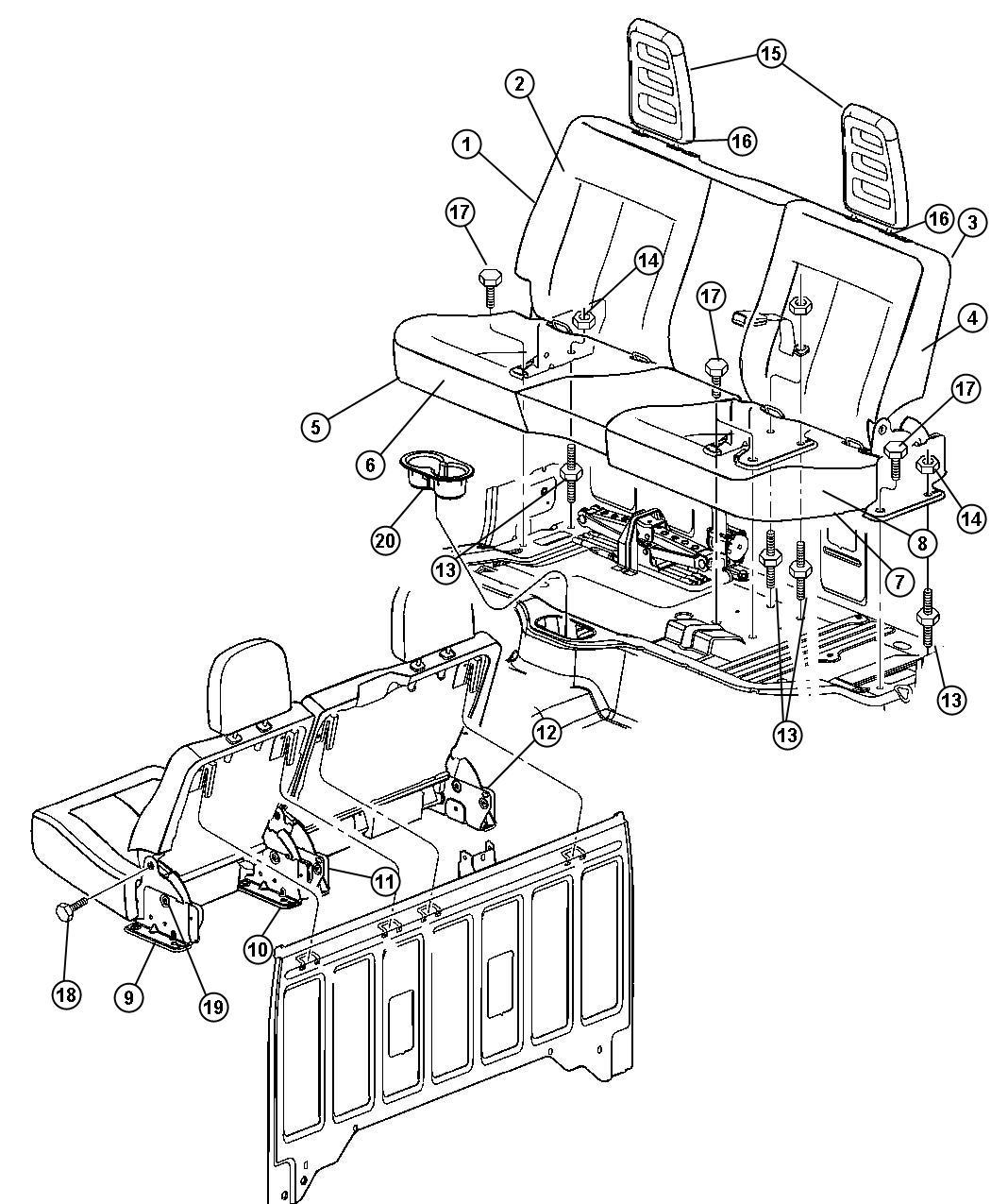 Dodge Dakota Cover. Rear seat cushion. [dd], [dd], [power