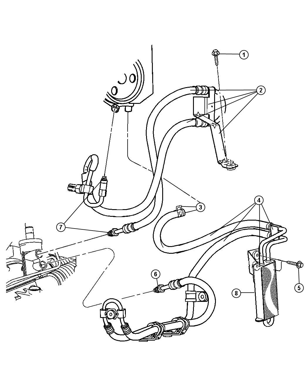 Jeep Liberty Used for: HOSE AND COOLER. Power Steering