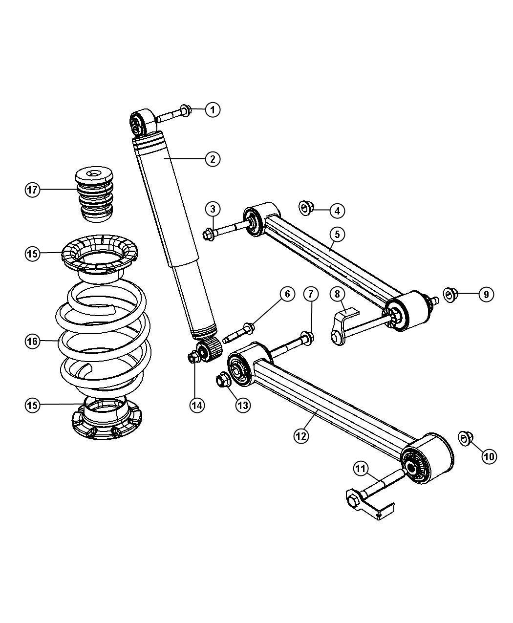 Dodge NITRO Arm. Lower control. Rear. Suspension, bushings