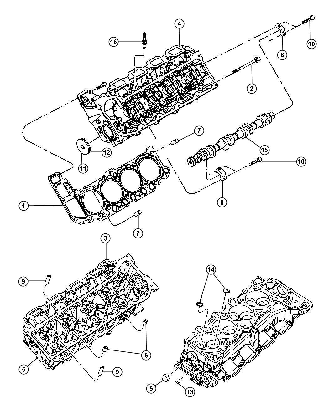 2009 Dodge Durango Spark plug. Intake. Side. See group 8
