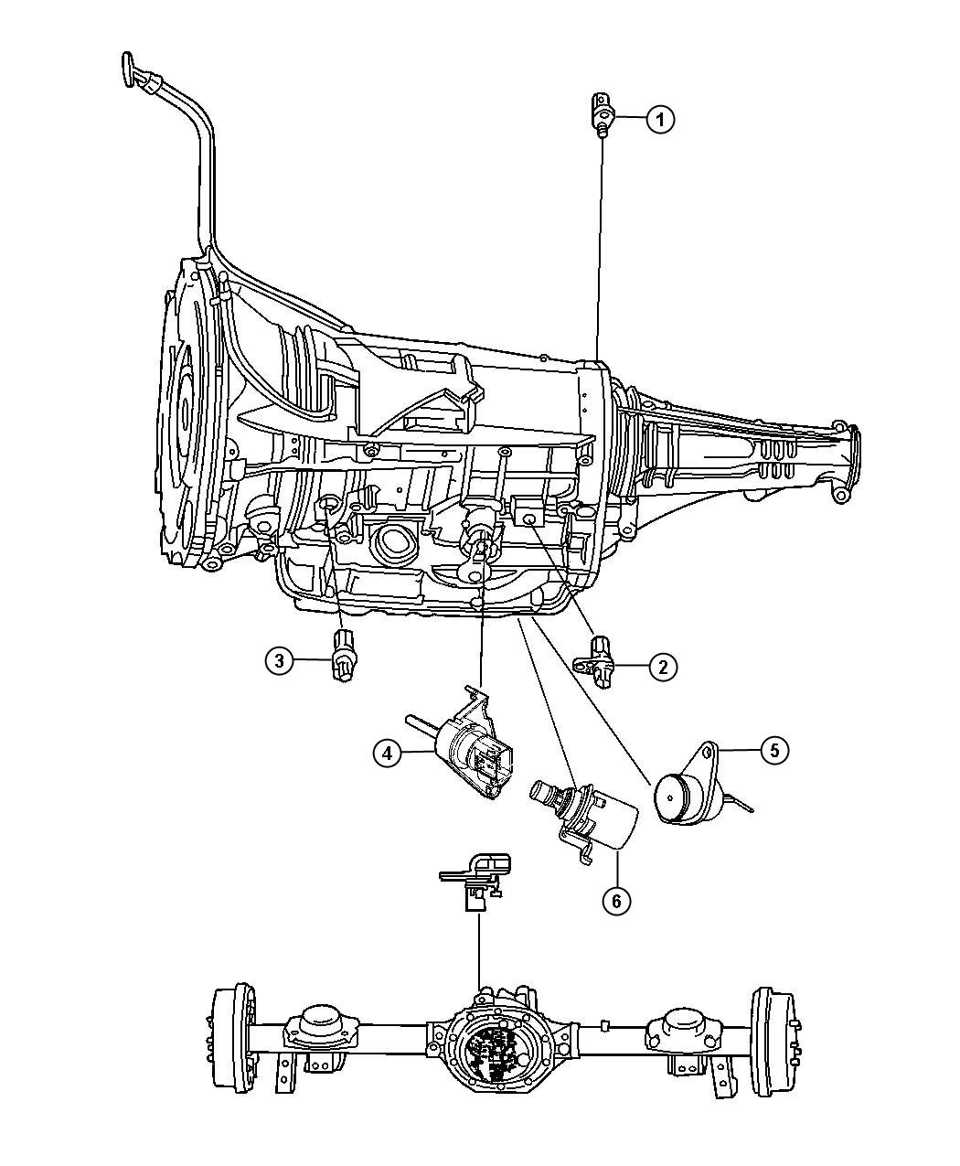Dodge Ram 1500 Sensor. Manual valve lever. Trans range