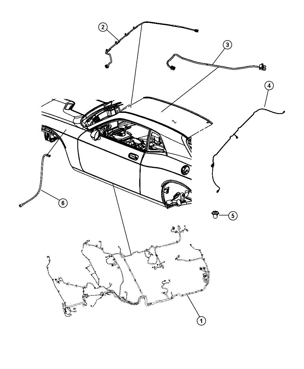 2009 Dodge Challenger Wiring. Rear fascia. [dual rear
