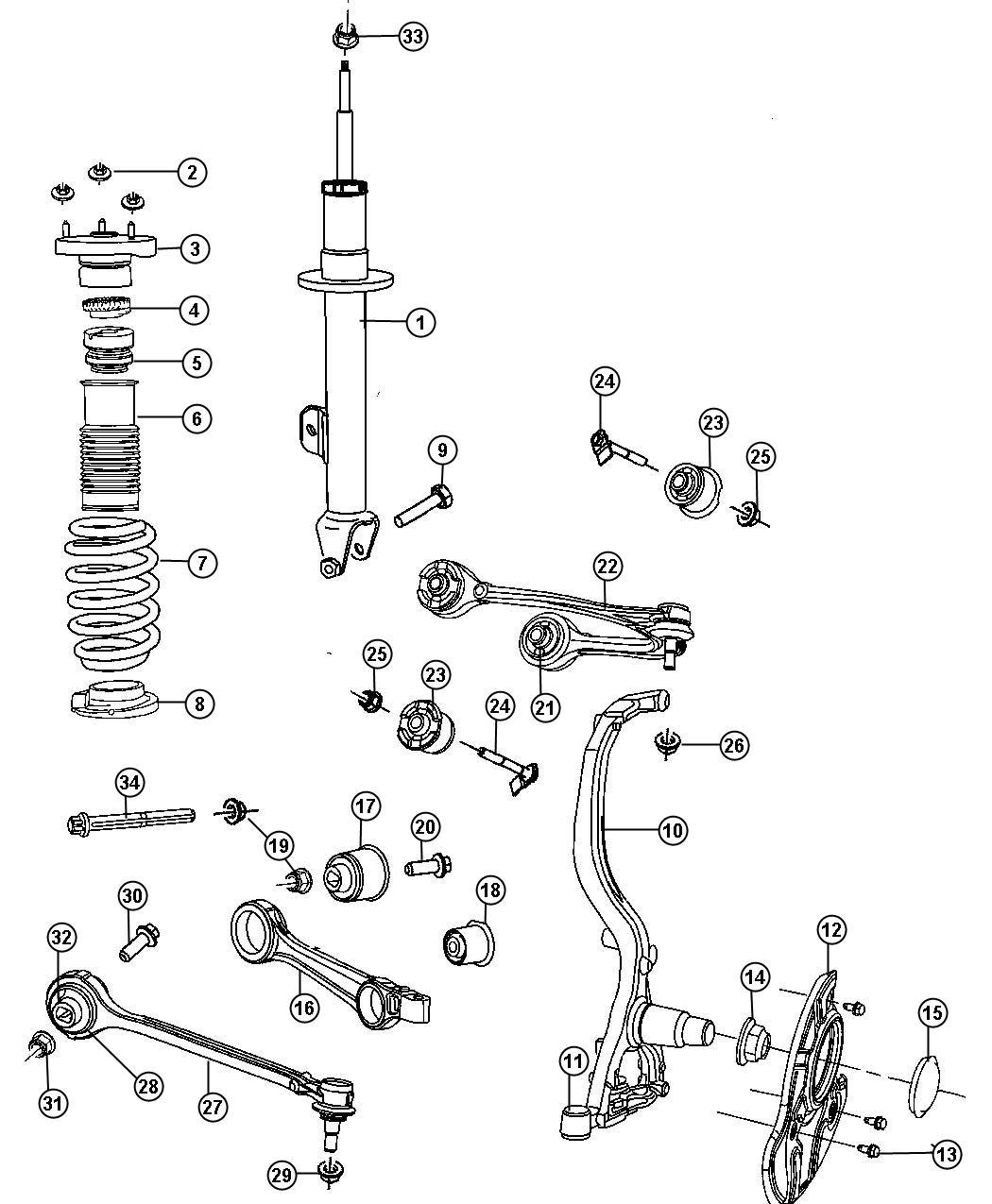 2006 Dodge Magnum Shock absorber. Suspension. [4 whl ind