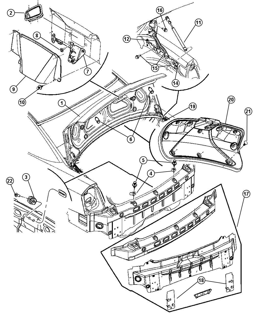 Chrysler 300 Rod. Lid, deck, related, mopar, body