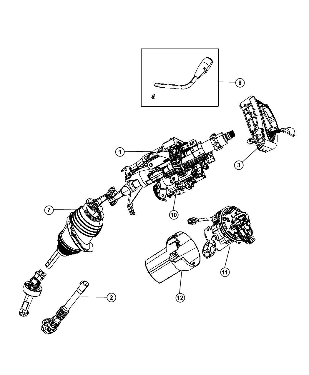2009 Dodge Charger Column. Steering. Tilt, module, shift