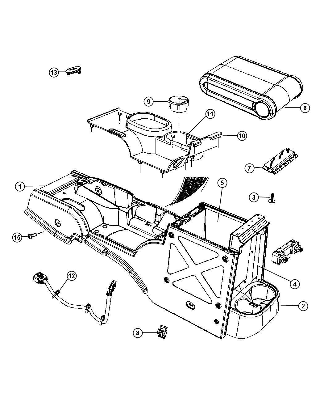 2009 Jeep Wrangler Hinge. Floor console lid. Automatic