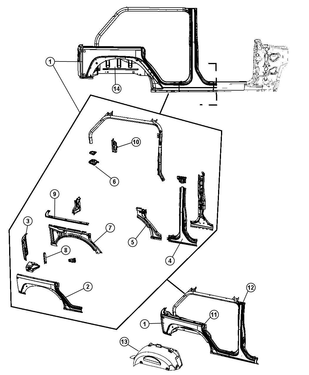 Jeep Wrangler Shield Splash Rear Right Aperture