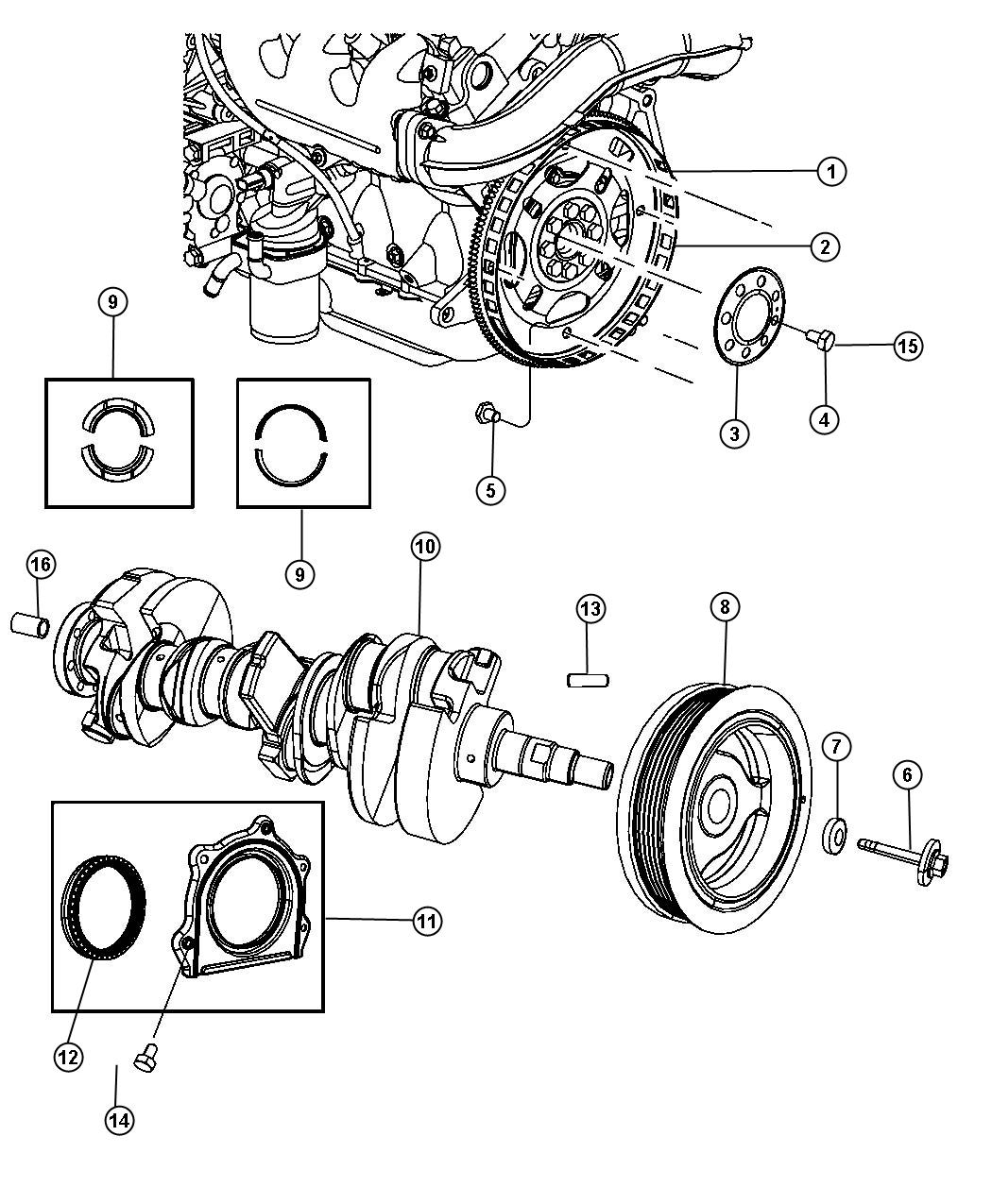 Jeep Wrangler Damper. Crankshaft. Bearings, egt, flywheel