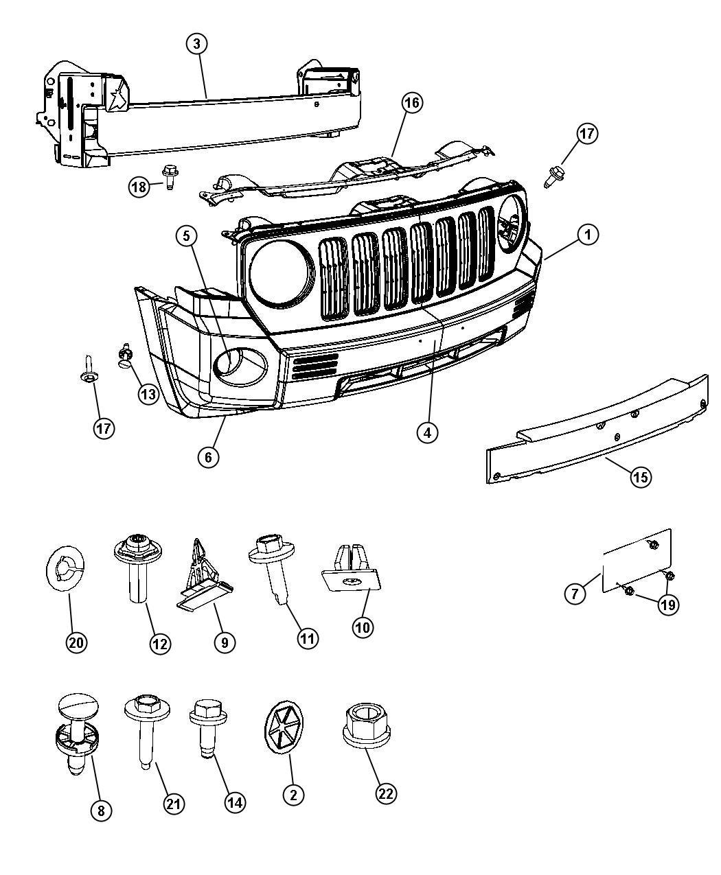 Jeep Patriot Foam Front Bumper Fascia Body Fog